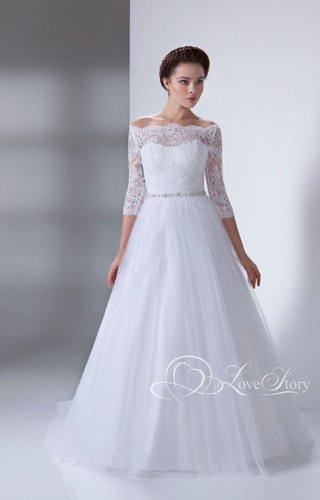 ✓ Пишне весільне плаття з відкритими плечима і рукавом 3 4  Міраж ... 7c839802c40c6